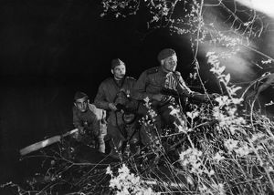 Red army soldiers on night reconnaisance on the first baltic front, world war 2