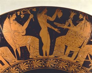 Red-figure pottery, cup depicting scene of assembly of gods: Zeus, Ganymede and Vesta