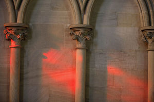 Red light in Notre Dame of Bayeux cathedral