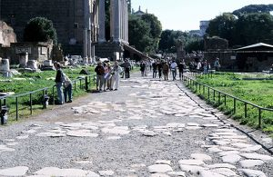 Remains of an Ancient Roman paved street. Photograph