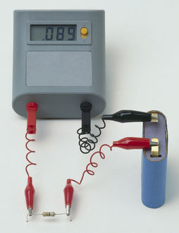 Resistance test, battery, resistor and ammeter.