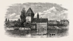 The Rhine at Constance, Switzerland, 19th century engraving