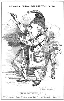 Robert Browning (1812-1889) English poet. Cartoon by Edward Linley Sambourne in the