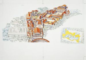Roman Forum and imperial map, illustration
