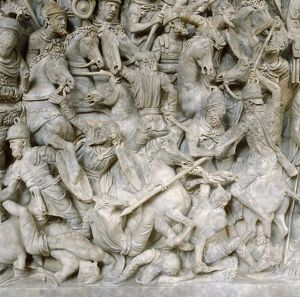history/romans battle barbarians scene sarcophagus general