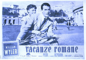 Rome, Archivio Immagini Cinema, film poster for Roman Holiday starring Audrey Hepburn