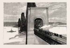 RUNNING THE FIRST TRAIN OVER THE NEW FORTH BRIDGE, engraving 1890, UK, U.K., Britain
