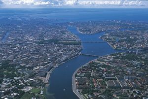 Russia, Saint Petersburg, Aerial view of mouth of Neva River on Baltic Sea