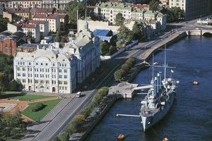 Russia, Saint Petersburg, Aerial view of Naval Academy and Cruiser Aurora