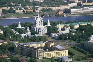 Russia, Saint Petersburg, Aerial view of Smolny Convent