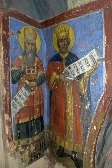 world heritage/vertical/russia veliky novgorod fresco depicting saints