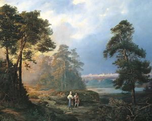 Russia, View of Moscow from the Sparrow Hills by Petrov, oil on canvas, 1856