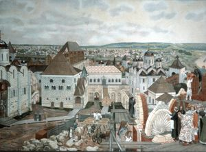 Russian art - painting of moscow in ancient times by v, m, vasnetsov (19th century).
