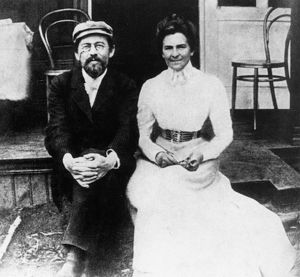 Russian author anton chekhov and his wife the actress olga knipper in 1902