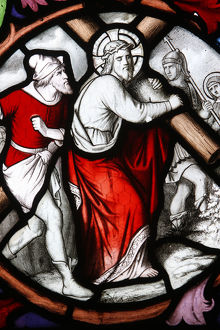 Saint Martin's church Stained glass Christ carrying his cross