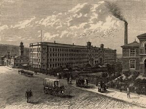 Saltaire, the model textile factory and town near Bradford, Yorkshire, England, founded