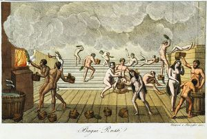 history/sauna russian bath early 19th century hand coloured