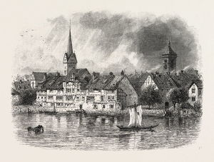 Schaffhausen, from the River, Switzerland, 19th century engraving