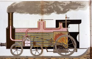 Sectional view of a mid-19th century steam railway locomotive showing firebox