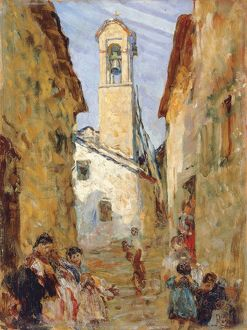 Sicilian village with women and children, by Luigi Rossi, painting
