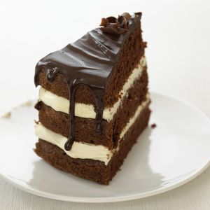 Slice of chocolate and cream layer cake on white plate