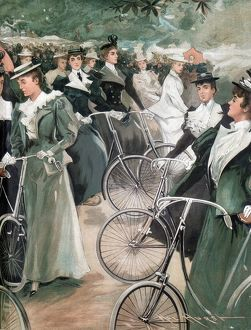 Society ladies cycling in Hyde Park, London. From Vanity Fair London June 1896