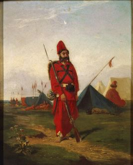 Soldier of army of General Justo Jose' Urquiza by Leon Palliere (1823-1887), Painting