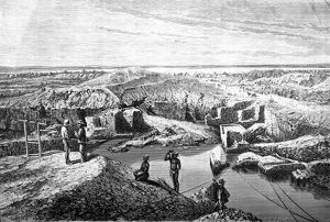 South Africa, First diamond mines: the Du Toit's Pan mine, engraving from Tour du Monde