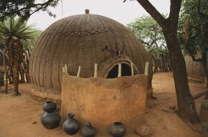 travel/south africa pots leather hide screen hut built
