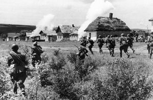 The southern front, soviet infantry dislodging germans from a ukrainian village