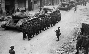 A soviet armored division receiving operational orders prior to the final battle in berlin