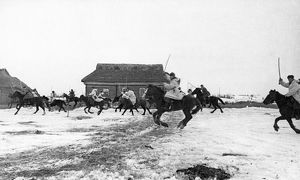 A soviet cavalry squadron pursuing retreating germans, world war ll.
