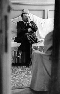 Soviet composer, dmitri shostakovich, backstage listening to the first performance