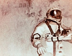 Soviet cosmonaut alexei leonov doing the world's first space walk (e,v,a,) during