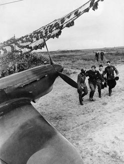 Soviet pilots greeting each other after a mission, yakovlev yak fighter of the soviet