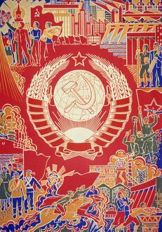 Soviet propaganda poster by boris parmeev (parmeyev) called 'under the sun of