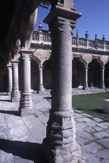 Spain, Castile and Leon, Salamanca, Baroque patio at Escuelas Menores University