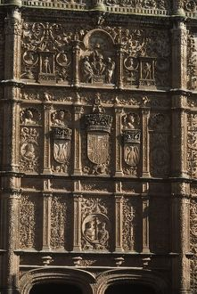 Spain, Castile and Leon, Salamanca, gothic plateresque facade with coat of arms at