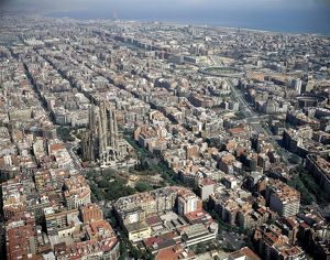 Spain, Catalonia, Aerial view of Barcelona