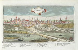 Spain, view of Madrid, coloured engraving, 1780