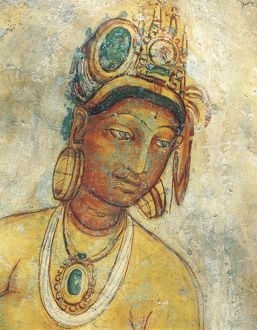 Sri Lanka, Central Province, Matale District, Sigiriya, Fresco depicting Apsara female