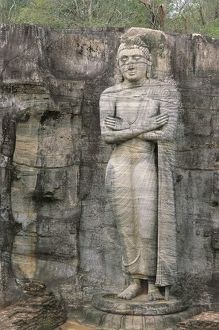 Sri Lanka, North Central Province, Polonnaruwa, Gal Vihare, statue of Ananda