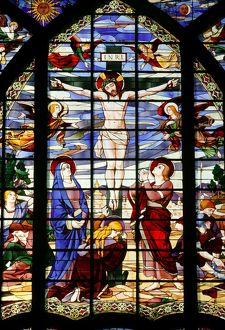 Stained glass window. Jesus on the cross. Saint-Jean de Montmartre church
