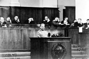 Stalin making his report at the celebration of the moscow soviet of the working people's