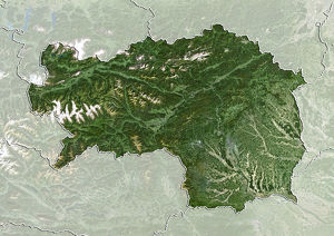 universal images group/satellite aerial planet observer 4/state styria austria true colour satellite image