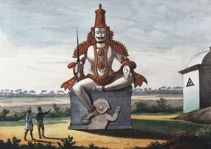 history/religion/statue hindu evil genie coloured lithograph linde
