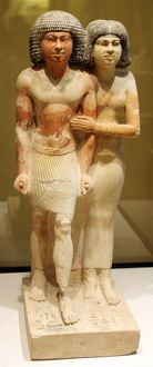 Stone Figurine of The Inspector and His Wife Raherka Meresankh 2530 B.C.