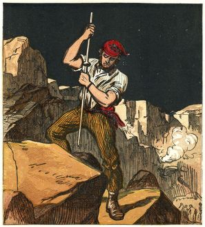history/stone quarry worker tamping gunpowder charge ready