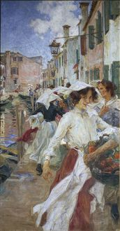 Street in Burano with young women in costumes, by Umberto Veruda Venice, 1904, painting