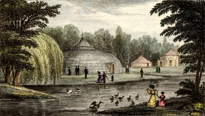 Surrey Zoological Gardens, Walworth, London, England. Engraving after the drawing